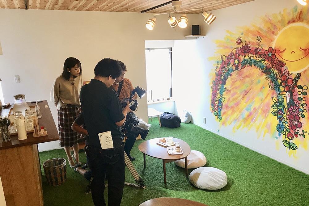 西日本放送『シアワセ気分』はれもけもでの取材の様子