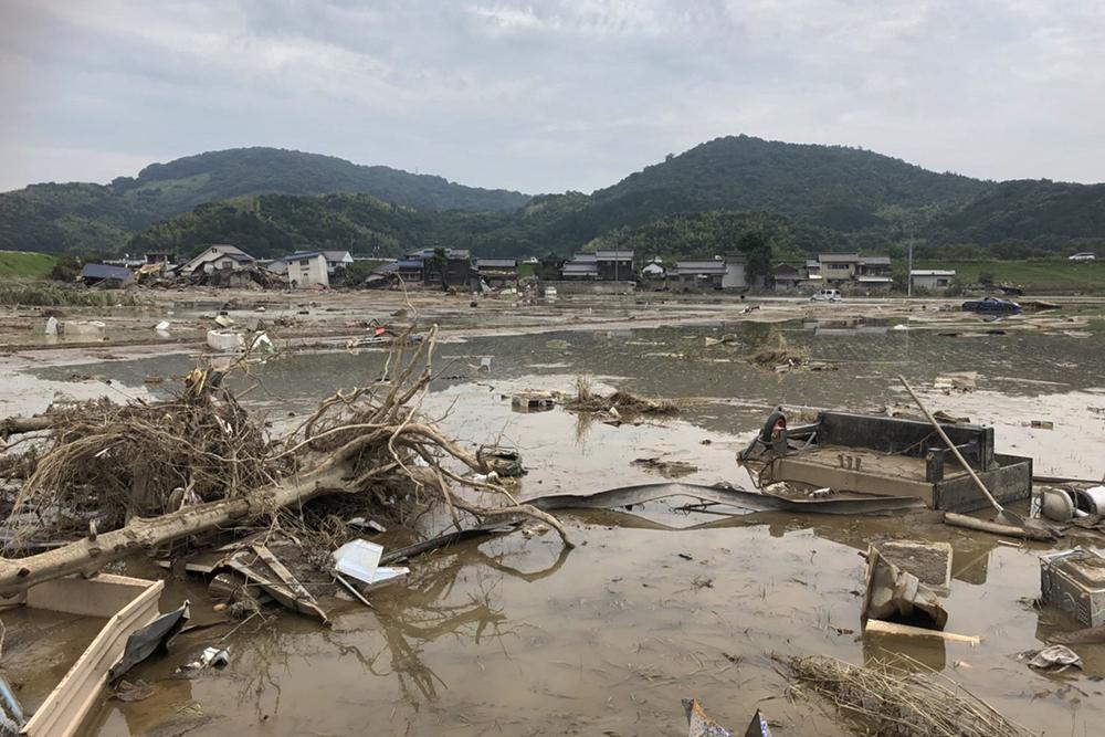 西日本豪雨での倉敷真備地区の被害